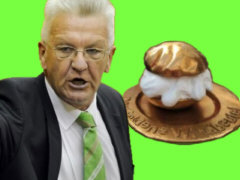 Goldener Windbeutel für Winfried Kretschmann - Collage: Samy
