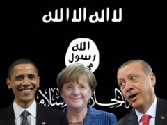 Obama, Merkel und Erdogan vor IS-Flagge - Collage: Samy - Creative-Commons-Lizenz Nicht-Kommerziell 3.0