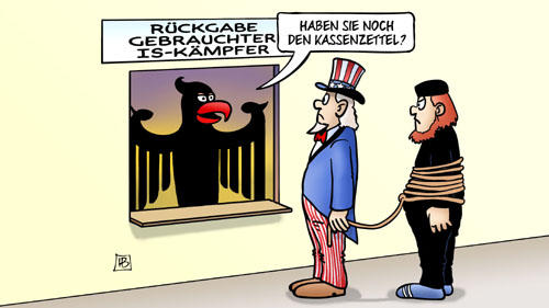 IS-Kämpfer und Kassenzettel - Karikatur: Harm Bengen