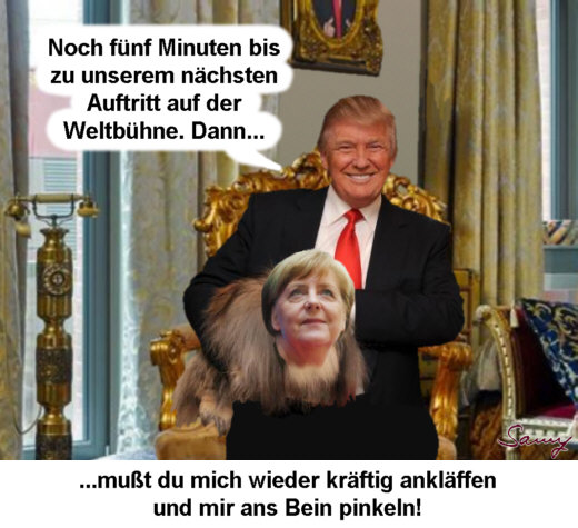 Trump and Merkel in HH - Karikatur: Samy - Creative-Commons-Lizenz Namensnennung Nicht-Kommerziell 3.0