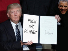 Donald Trump: Fuck the planet - Grafik : Samy (nach einer Idee von KFMW, Ronny Kraak) - Creative-Commons-Lizenz Namensnennung  Nicht-Kommerziell 3.0