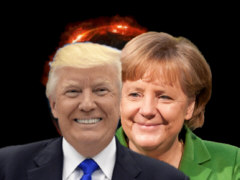 Trump and Merkel cheek to  cheek - Collage: Samy - Creative-Commons-Lizenz Namensnennung Nicht-Kommerziell 3.0