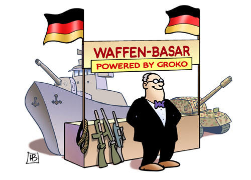 Waffenbasar powered by GroKo - Karikatur: Harm Bengen